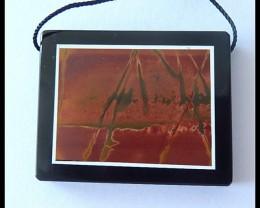79Cts Natural Multi Color Picasso Jasper,Obsidian Intarsia Pendant Bead(B18