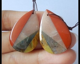 43Cts Natural Labradorite,Red Jasper,Yellow Opal,Sunstone Intarsia Earring