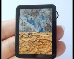 77Cts Natural Opal,Picture Jasper,Obsidian Intarsia Pendant Bead