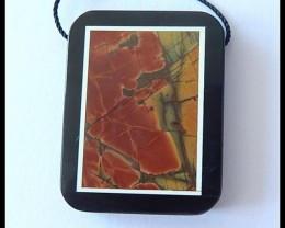61.5Cts Natural MultI Color Picasso Jasper,Obsidian Intarsia Pendant Bead
