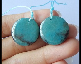 36Cts Natural Chrysocolla,Obsidian Intarsia Earring Beads