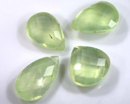 17.30 CTS YELLOW PREHNITE BRIOLETTE (4 PCS) FACETED ADG-1406