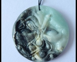 63.5Cts Carved Amazonite Libra Gemstone Pendant Bead