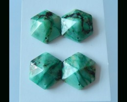 Faceted Trend  - Faceted  Chrysocolla Gemstone Pair - 19x23x9 MM