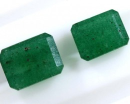 4.75 CTS AVENTURINE FACETED EMERALD GREEN PARCEL (2PCS) RNG-360