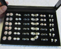 Parcel deal tray 36 mixed Pearl Earrings P 119