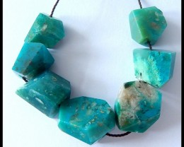 7 PCS Faceted Peruvian Opal Beads Cluster,Natural