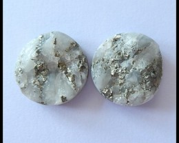 38.5cts Natural Pyrite Gemstone Cabochon Pair
