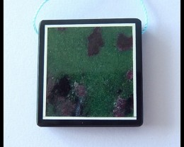73.65Cts Natural Ruby And Zoisite,Obsdian Intarsia Intarsia Pendant Bead
