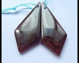 43Cts Natural Garnet Beads Pair ,Hand Polished!(B180422)