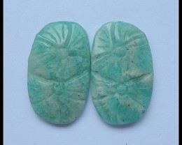 22.5Cts Natural Amazonite Flower Carving Pair(C0102)
