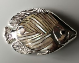 HUGE 138.00ct SHINING MOTHER OF PEARL FISH .925 STERLING SILVER BROOCH