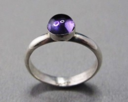 Amethyst Cabochon Silver Ring Size 7.5 US