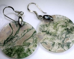 MOSS AGATE EARRING PAIR  -SILVER  29.40 CTS SG-1371