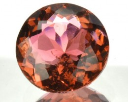 1.02 Cts Natural Orange Tourmaline Round Faceted Mozambique Gem NR