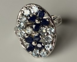DAZZLING SAPPHIRE SKY BLUE TOPAZ STERLING SILVER RING SIZE 9.0