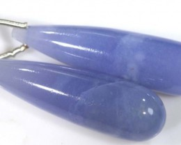 29 CTS CHALCEDONY DROPS PAIR DRILLED NP-1746