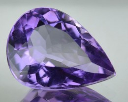 3.34 Cts Natural Purple Amethyst Pear Faceted Bolivian Gem