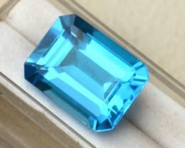 27.14 Carat Very Fine Octagon Cut Swiss Blue Topaz