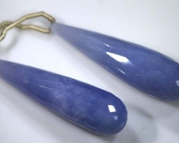 53 CTS CHALCEDONY DROPS PAIR DRILLED NP-1780