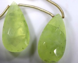 31 CTS PREHNITE FACETED BEADS DRILLED PAIR NP-1796