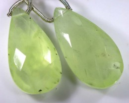 23 CTS PREHNITE FACETED BEADS DRILLED PAIR NP-1798