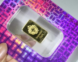 5 Grams  .9999% gold Bar Certified lgn 1353