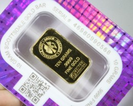 10 Grams  .9999% gold Bar Certified LGN1354