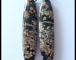 44Cts Natural Snow Obsidian Earring Beads
