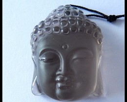 93.5Cts Natural Smoky Quartz Buddha Pendant Bead