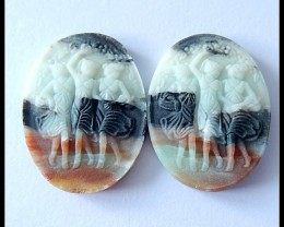 52.5Cts Natural Amazonite Beauty Carving Cabochon Pair