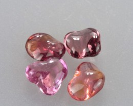 Unheated 3.41ct Free-form Hand Polished Pink Sapphire Parcel