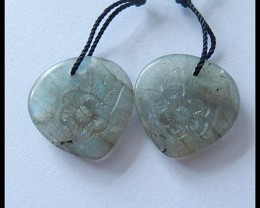 21.5Ct Labradorite Gemstone Earring Bead With Flower Carving B77
