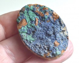 Azurite Druzy cabochon with malachite and cuprite/copper