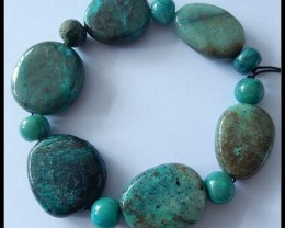 304CT Natural Chrysocolla Freeform Bead Strand,28x25x8 MM,8X10 MM