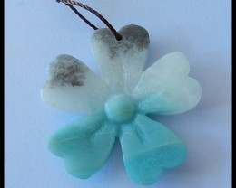 25Cts Natural Amazonite Gemstone Lucky Clover Pendant Bead