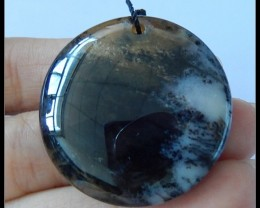 84.5Ct Natural Dendritic Agate Gemstone Round Pendant Bead