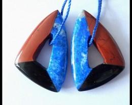 56.7Ct Natural Lapis Lazuli,Red Jasper,Obsidian Intarsia Earring Beads(A185