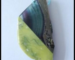 121.5Cts Natural Fluorite,Serpentine Intarsia Gemstone Pendant Bead(B180421