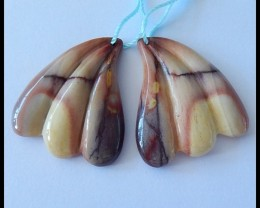 62.5Ct New Design Natural Mookaite Jasper Earring Pair