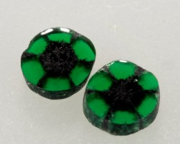 0.83ct TW Trapiche Emerald Pair