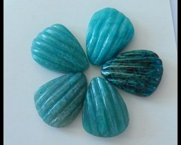 5 PCS Natural Chrysocolla Gemstone Cabochons Parcel,21.5Cts