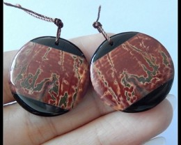 Picasso Jasper,Obsidian Intarsia Earring Beads Pair, Natural Gemstone,43.25