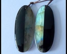 46Ct Natural Obsidian,Labradorite Gemstone Intarsia Earring Beads (18091188