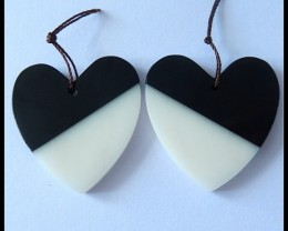 70 Ct Natural White Agate,Obsidian Intarsia Heart Shape Earring Beads B136