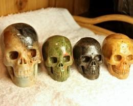 Quartet of Carvings - Amazonite / Unakite / Iron Pyrite / Lace Agate