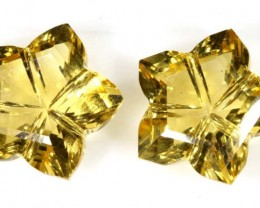 12 CTS  CITRINE  FLOWER CARVING PAIR LT-686
