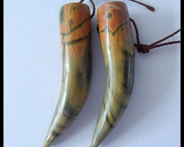 34.25 Cts Natural Multi Color Picasso Wolf Teeth Earring Beads Pair(B180414