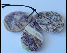 Flat Beads 3PCS Natural Purple Agate Gemstone Bead
