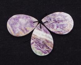 75.5Cts Flat Beads 3PCS Natural Purple Agate Gemstone Bead P0060